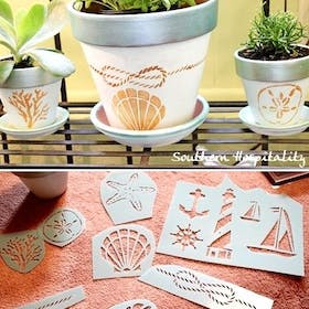 Stenciled Painted Pots