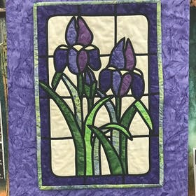 Wild Iris Stained Glass Applique