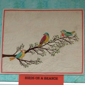 Threadpainted Birds on a Branch
