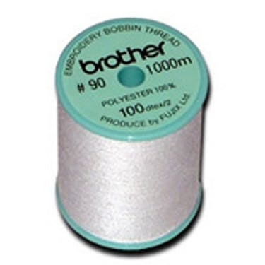 Brother 90wt Embroidery Bobbin Thread - White 1200yds