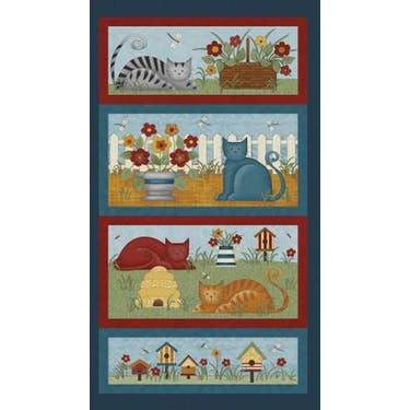 Benartex Colorful Cats Multi Fabric Panel by Cheryl Haynes 24
