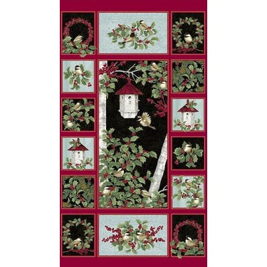 Benartex Festive Chickadees Multi Fabric Panel by Jackie Robinson 24