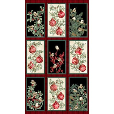 Benartex Winter Elegance Birds Multi Fabric Panel by Jackie Robinson 24