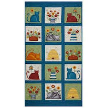Benartex Colorful Cats Block Fabric Panel by Cheryl Haynes 24