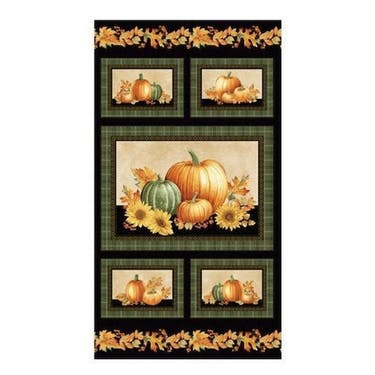 Bentartex Autumn Elegance Black Metallic Multi 6 Block Fabric Panel by Jackie Robinson 24