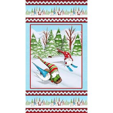 Blank Fabric Gnomes Skiing Fabric Panel by Hugo Edwins 24