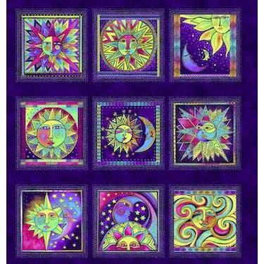 Clothworks Celestial Magic Metallic Dark Purple by Laurel Burch Fabric Panel 24