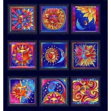 Clothworks Celestial Magic Metallic Light Navy by Laurel Burch Fabric Panel 24