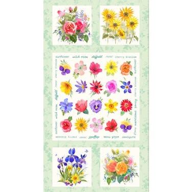 Clothworks Flower Shop Light Mint Multi by Jim Ishikawa Fabric Panel 24