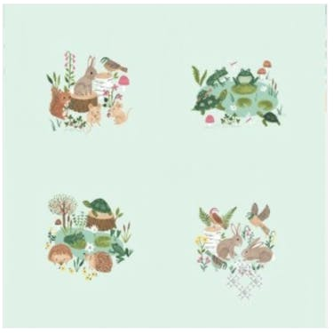 Clothworks Woodland Wander Fabric Panel by Rebecca Jones Light Mint 24