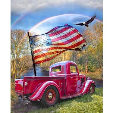 Davids Studio American Freedom Truck Fabric Panel 36
