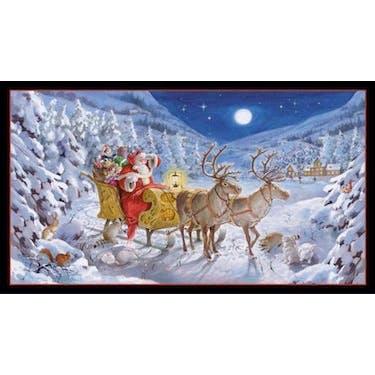 Elizabeth Studio Santa Claus is Coming Santa & Reindeer Black Fabric Panel 44
