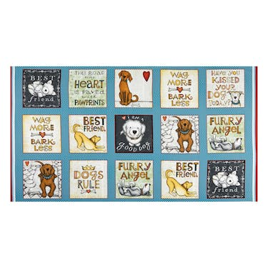 Henry Glass & Co All You Need is Love & A Dog Blue Fabric Panel 24