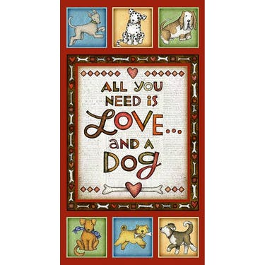 Henry Glass & Co All You Need is Love & A Dog Red Fabric Panel 24