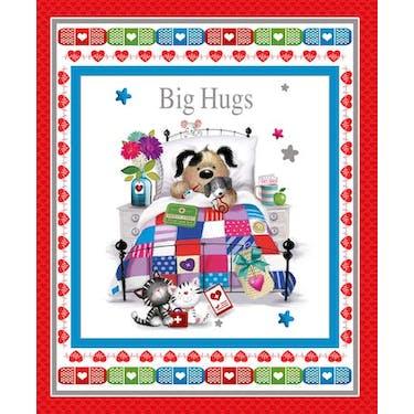 Henry Glass & Co Big Hugs Banner Fabric Panel by Jonny Javelin 36' x 44