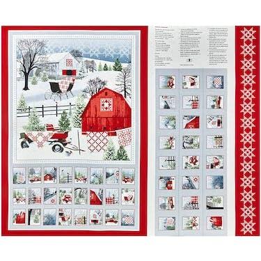 Henry Glass & Co Holiday Heartland Advent Calendar Fabric Panel by Jan Shade Beach 44