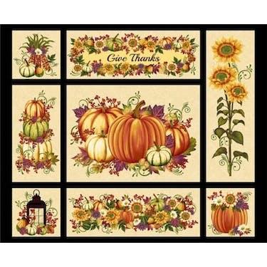 Henry Glass & Co Pumpkin Harvest Cream Multi Fabric Panel 44