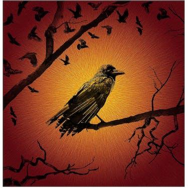 Hoffman Fabrics Haunted Halloween Flame Crow Fabric Panel 44