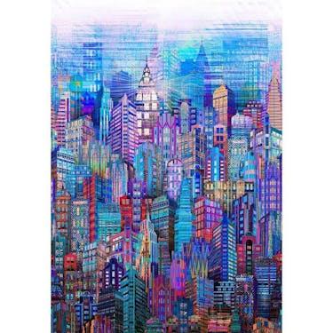Hoffman Fabrics Blue Skylines Cityscape Digital Spectrum Print 30