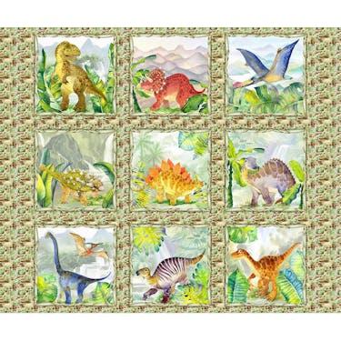 In the Beginning Dinosaur Friends Fabric Panel by Jason Yenter 42' x 36'