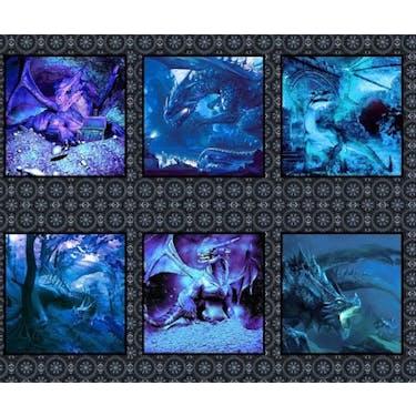 In The Beginning Fabrics Dragons - Blue Fury Multi Fabric Panel 44