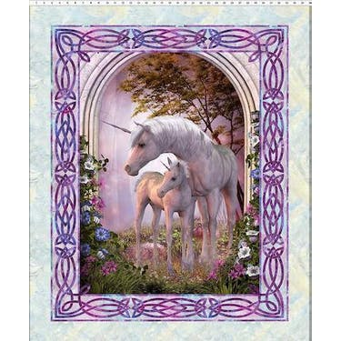 In the Beginning Unicorn Large Fabric Panel by Jason Yenter 44