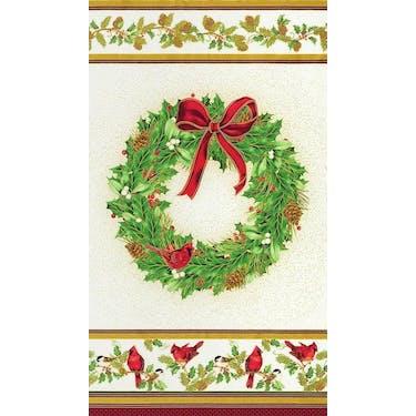 Robert Kaufman Winter's Grandeur Metallic Wreath by Liza Bea Studio Fabric Panel 24