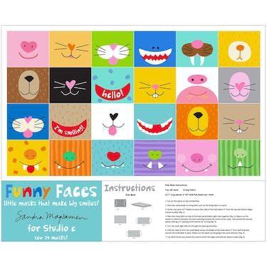 Studio E Funny Faces Face Mask Multi Fabric Panel 44