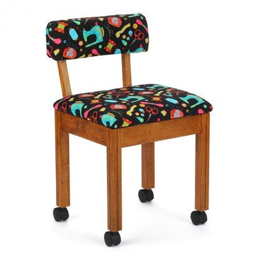 Arrow Black Sewing Notions Sewing Chair with Oak Finish
