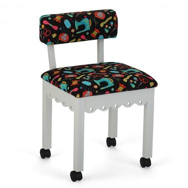 Arrow Black Sewing Notions Sewing Chair with White Finish