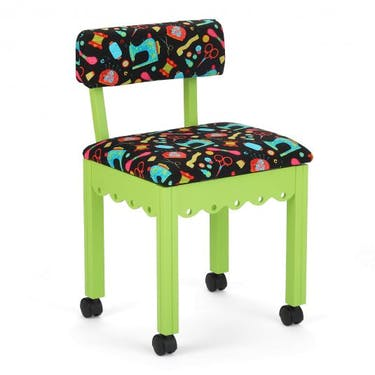 Arrow Black Sewing Notions Sewing Chair with Green Finish