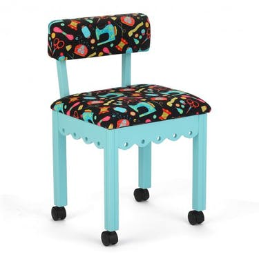 Arrow Black Sewing Notions Sewing Chair with Blue Finish