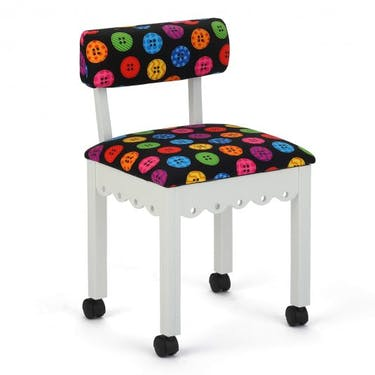 Arrow Bright Buttons Sewing Chair with White Finish