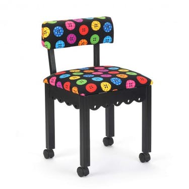 Arrow Bright Buttons Sewing Chair with Black Finish