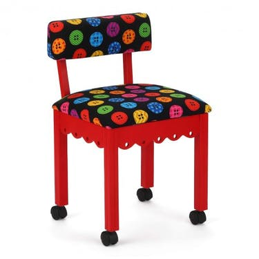 Arrow Bright Buttons Sewing Chair with Red Finish