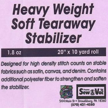 Exquisite Heavy Weight Soft Tearaway Stabilizer 20