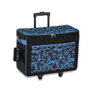 Brother Rolling Tote Bag with Logo Luggage Tag (Blue)